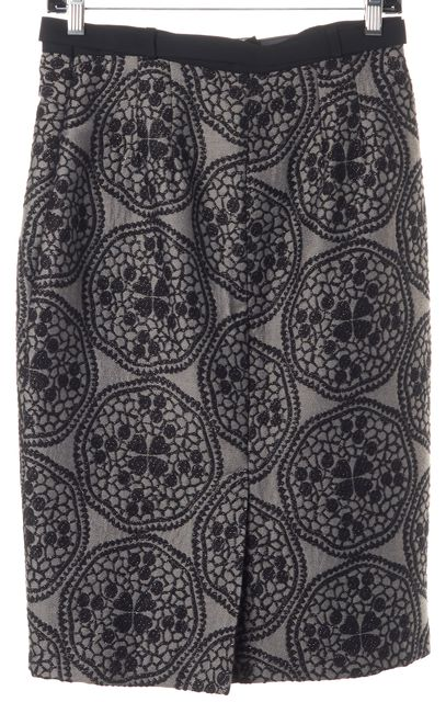 EVA FRANCO Gray Black Embroidered Belted Straight Skirt
