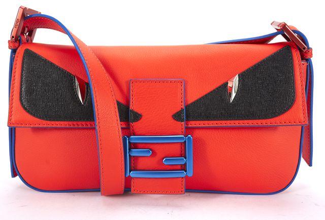 FENDI Orange Blue Multi Leather Monster Baguette Crossbody Bag