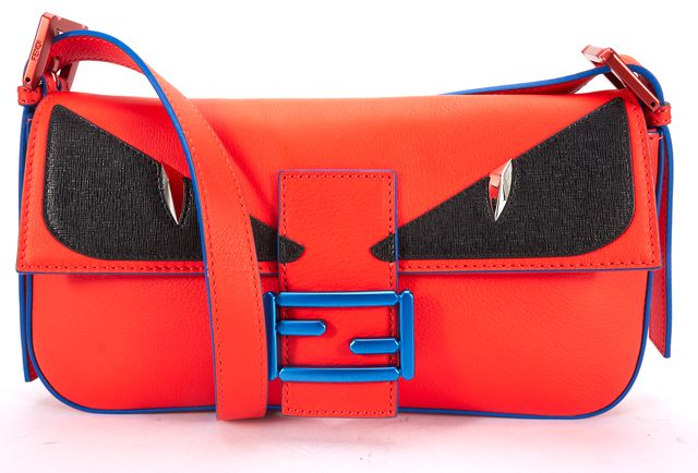 FENDI Orange Blue Multi Leather Monster Baguette Crossbody Bag