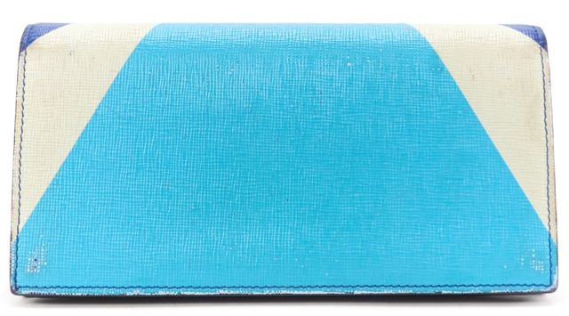 FENDI Authentic Blue Saffiano Leather Monster Bifold Continental Wallet w/ Box