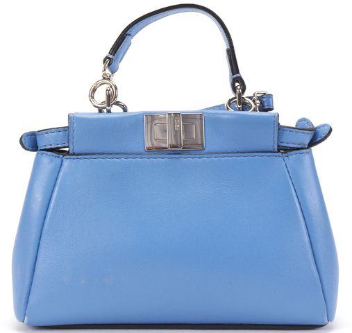 FENDI Blue Leather Micro Peekaboo Crossbody Bag Charm Bag