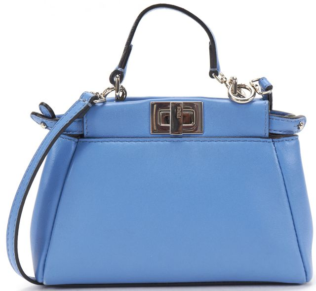 FENDI Blue Leather Micro Peekaboo Crossbody Bag Charm Bag