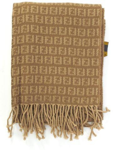 FENDI Beige Wool FF Monogram Long Fringe Scarf