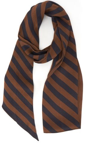 FENDI Brown Navy Silk Striped Scarf