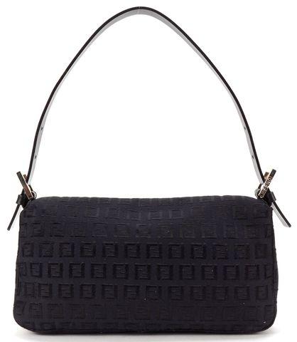FENDI Black Zucchino Monogram Canvas Baguette Flap Shoulder Bag