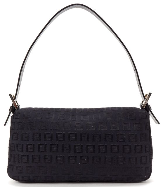 FENDI Black Zucchino Monogram Canvas Baguette Flap Shoulder Bag