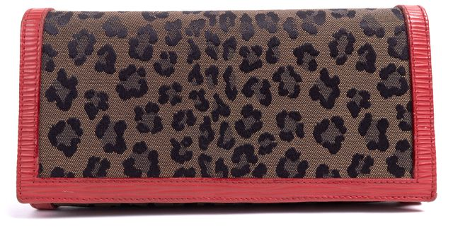 FENDI Brown Black Leopard Print Fabric Red Epi Leather Trim Continental Wallet