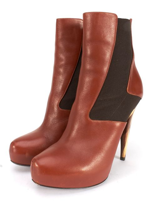 FENDI Brown Leather Elastic Block Wood Heel Platform Ankle Boots