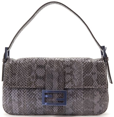 FENDI Blue Python Baguette Shoulder Bag