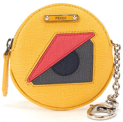 FENDI Yellow Leather Bug Around Coin Purse Keychain Wallet