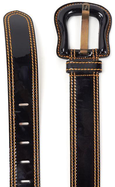 FENDI Black Patent Leather Yellow Contrast Stitching Belt