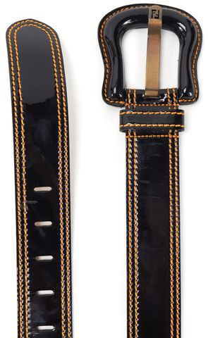 FENDI Black Patent Leather Yellow Contrast Stitching Belt