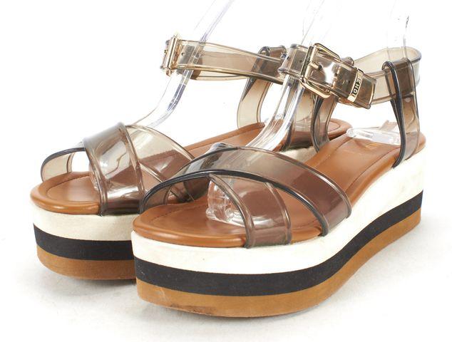 FENDI Gray Black Tan PVC Flat Form Sandals Size 36.5
