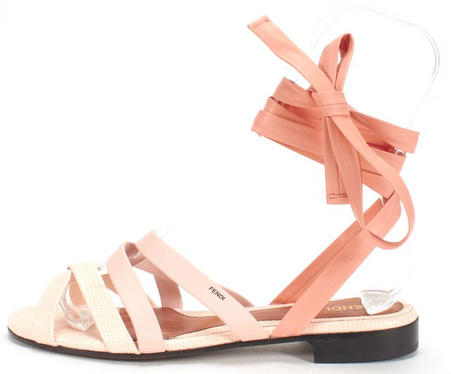 FENDI Pink Coral Embossed Leather Lace Up Sandals