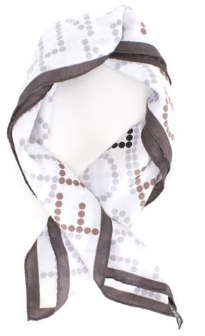 FENDI White Gray Logo Small Square Scarf