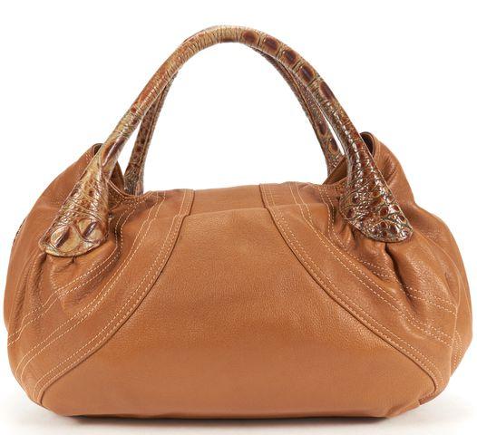 FENDI Authentic Brown Leather Croc Embossed Handle Bag