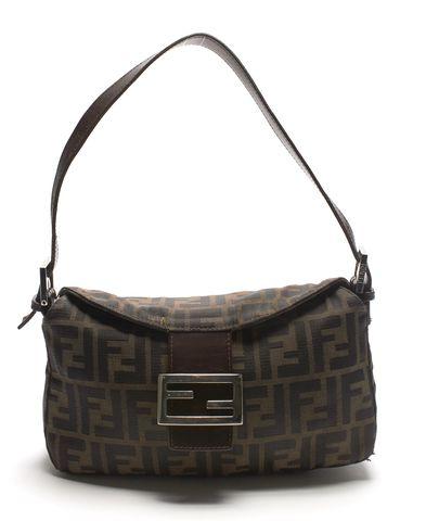 FENDI Authentic Brown Zucca Canvas Small Shoulder Bag