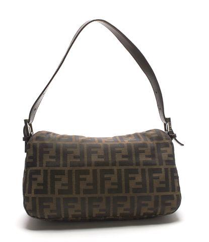 FENDI Brown Zucca Canvas Small Shoulder Bag