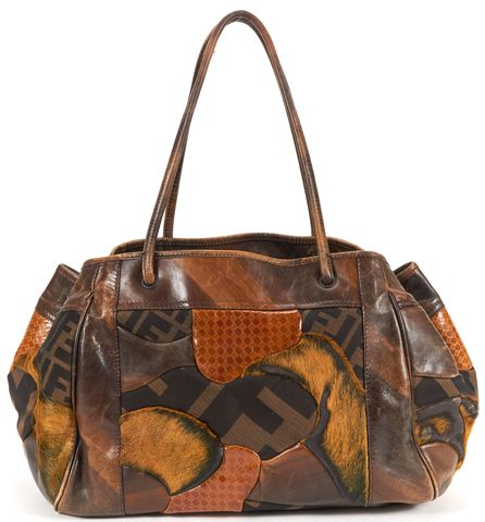 FENDI Authentic Brown Yellow Patch Work Calf Hair Leather Canvas Shoulder Bag