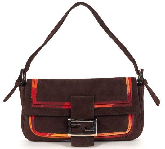 FENDI Brown Orange Suede Leather Silk Baguette Trim Shoulder Bag