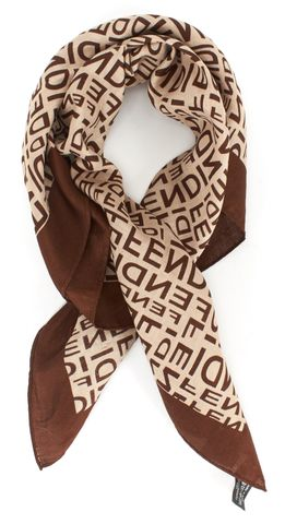 FENDI Brown Monogram Print Cotton Square Scarf