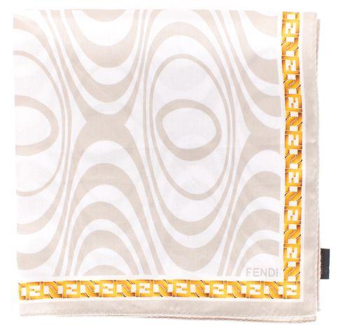 FENDI Light Gray Geometric Print Square Scarf