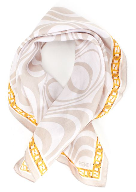 FENDI Light Gray Geometric Print Square Scarf