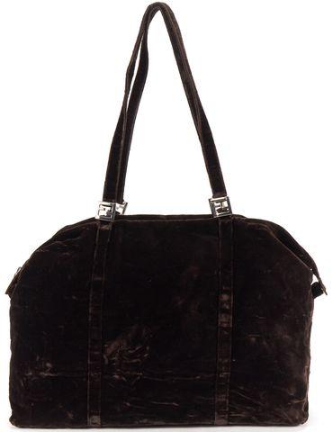 FENDI Brown Velvet Shoulder Bag