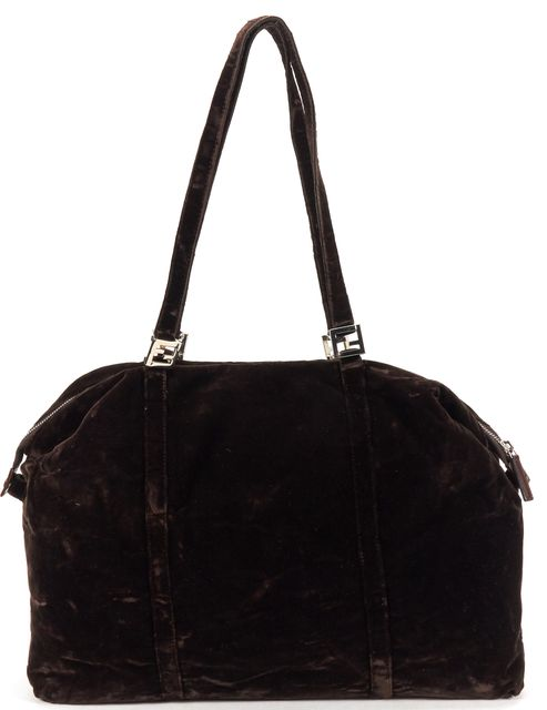 FENDI Brown Velvet Shoulder Bag