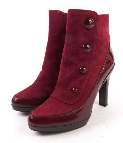 FENDI Burgundy Red Suede Leather Ankle Boot Heels