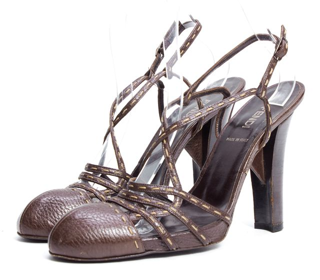 FENDI Brown Leather Contrast Stitch Wooden Heel Cap Toe Slingback