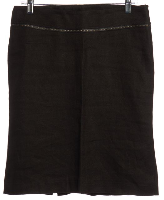 FENDI Black Linen Pencil Skirt