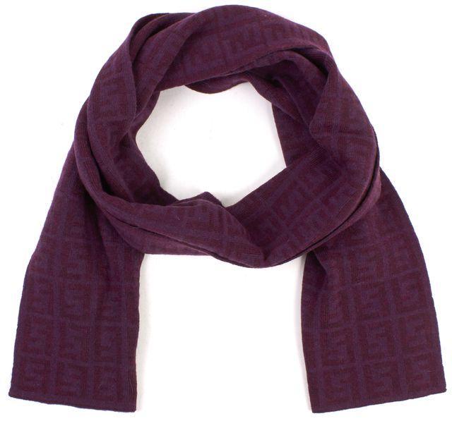 FENDI Purple Monogram Wool Scarf