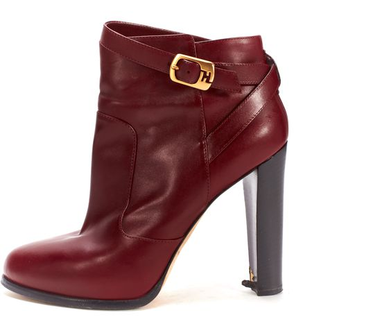 FENDI Red Gold Buckle Ankle Boots