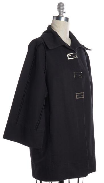 FENDI Navy Blue Textured Long Jacket