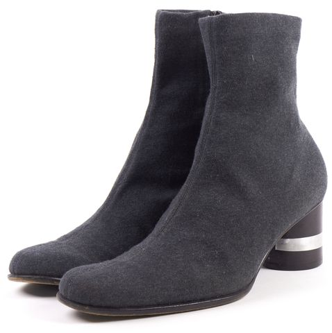 FENDI Gray Fabric Wooden Heel Bootie