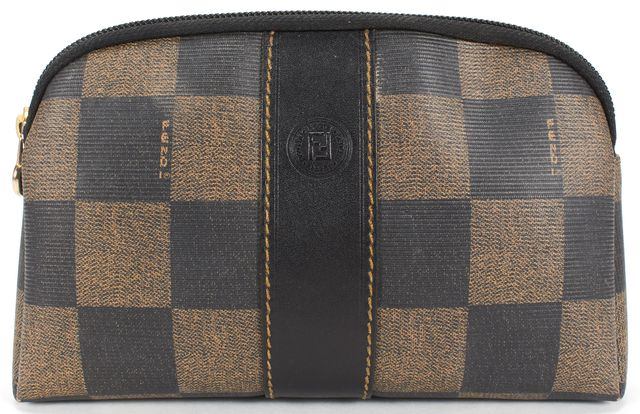 FENDI Brown Coated Canvas Checkered Cosmetic Pouch Bag
