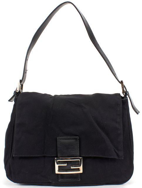 FENDI Black Nylon Leather Strap Forever Mama Shoulder Bag