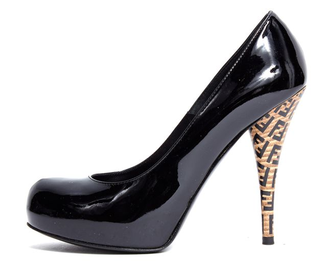 FENDI Black Patent Leather Round Toe Platform Pump