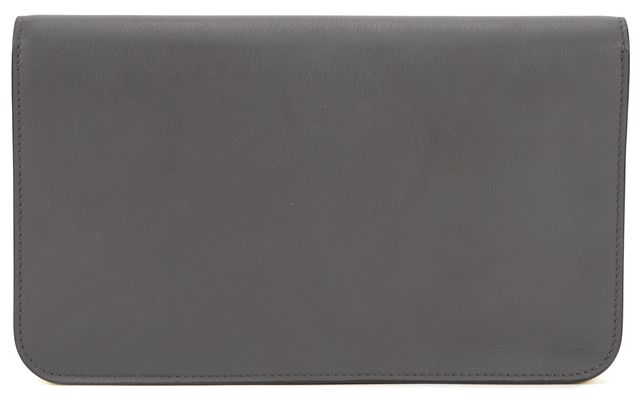 FENDI Gray Muted Lime Green Leather Envelope Clutch Bag