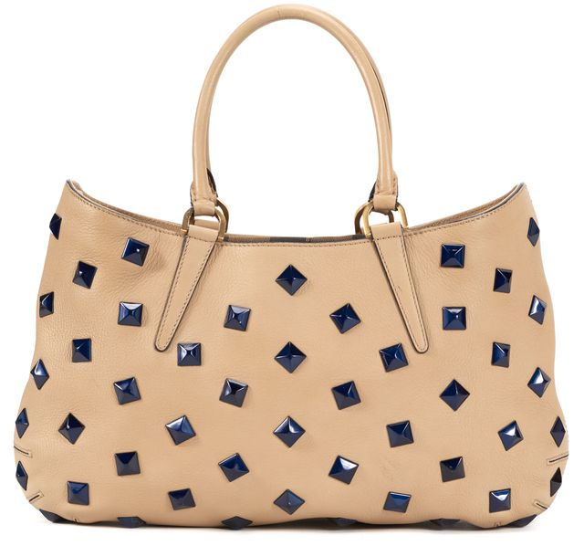 FENDI Brown Leather Metallic Blue Studded Drawstring One + One Shoulder Bag