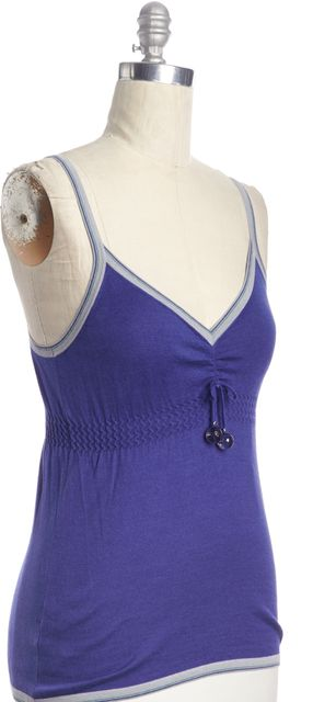 FENDI Blue Casual Knit Thin Strap Camisole Blouse Top