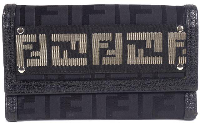 FENDI Black Zucca Nylon Leather Trim Tri-Fold Wallet