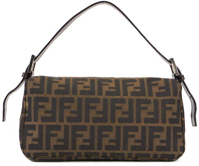 FENDI Brown Zucca Canvas Baguette Shoulder Bag