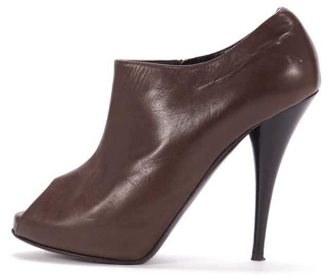 FENDI Brown Leather Peep Toe Ankle Booties