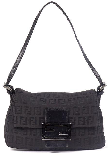 FENDI Black Zucca Canvas Small Shoulder Bag