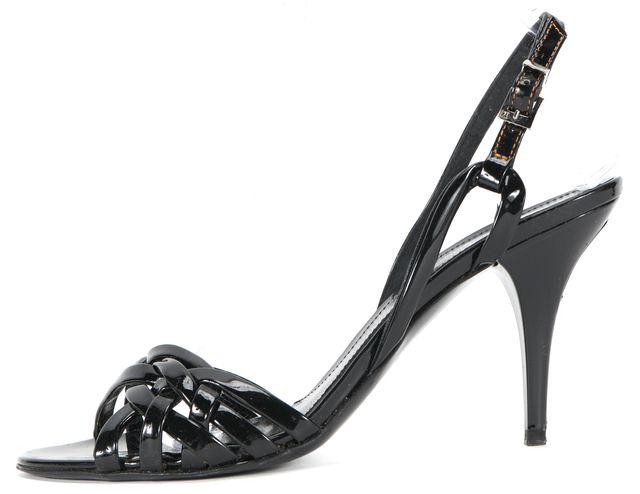 FENDI Black Patent Leather Slingback Sandals