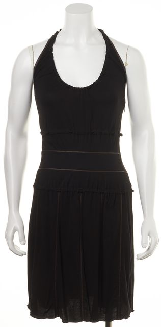 FENDI Black Brown A-Line Halter Tie Back Casual Gathered Pleat Dress