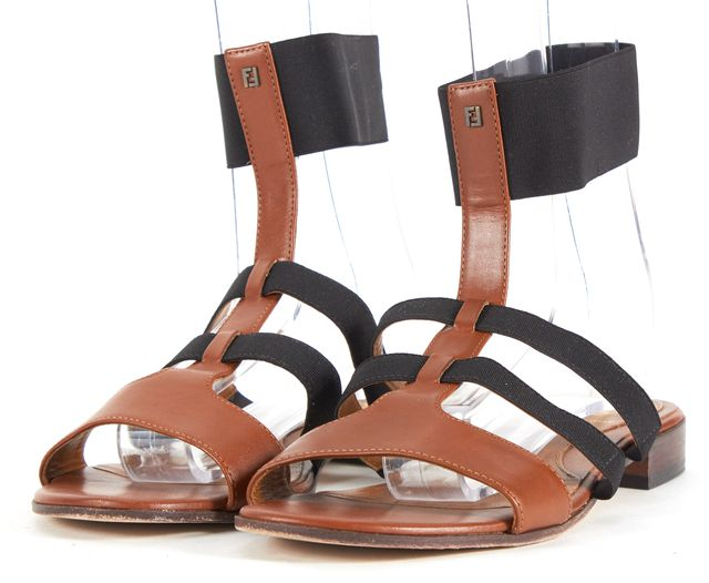 FENDI Brown Leather Elastic Multi Strap Sandals