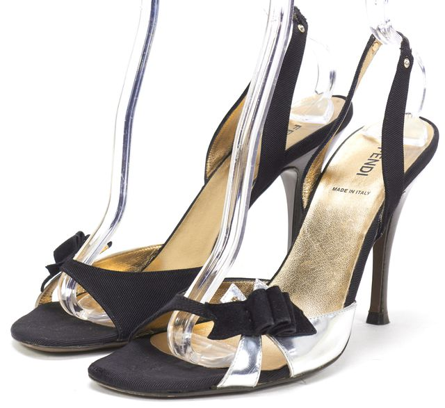 FENDI Black Satin Metallic Silver Leather Embellished Sandal Heels